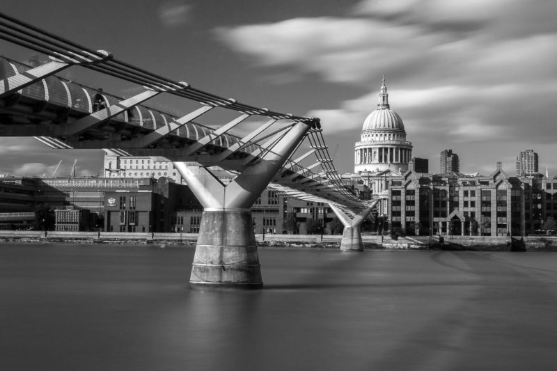St Pauls Cathedral in London in Black and White with the Millennium Bridge