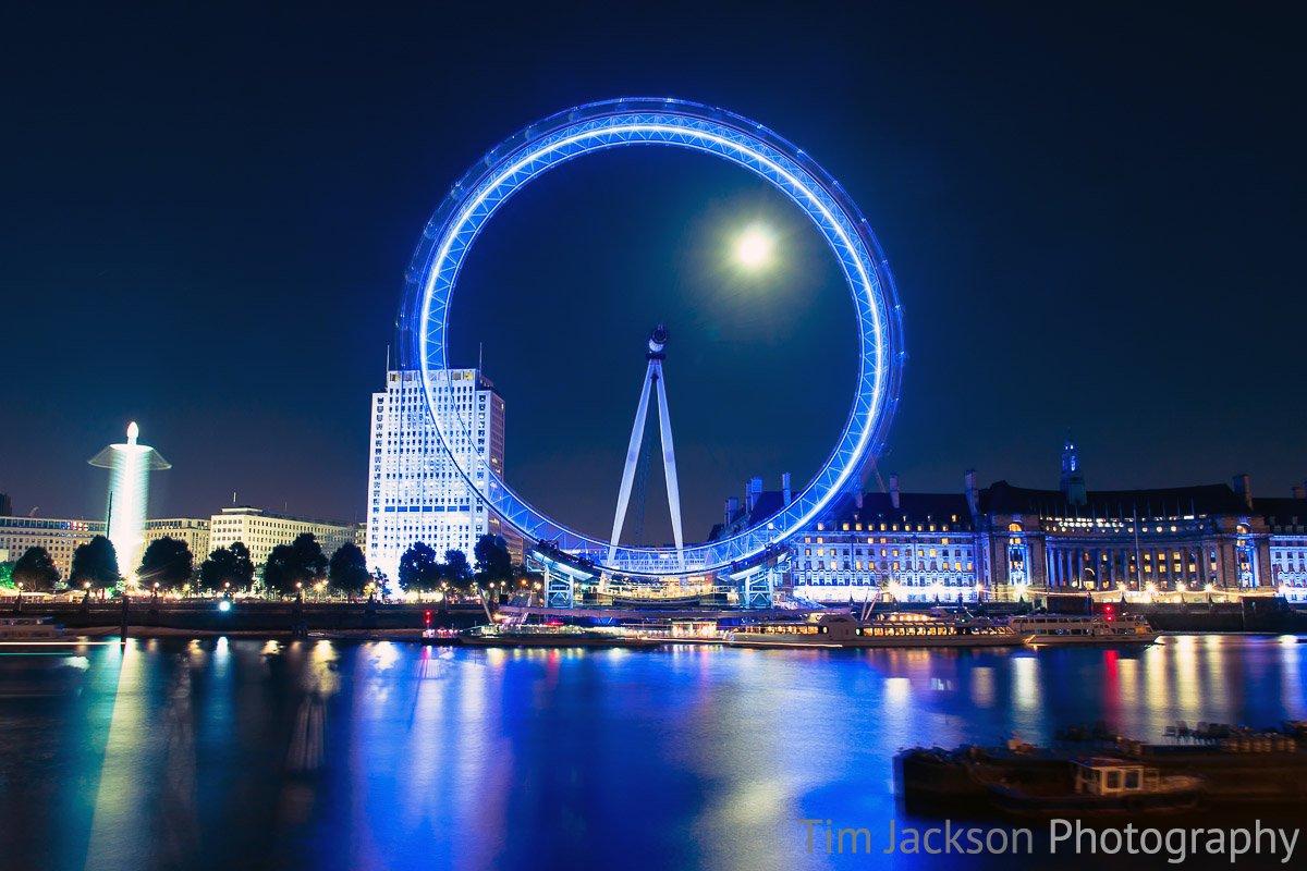 London Eye by Moonlight Photograph by Tim Jackson