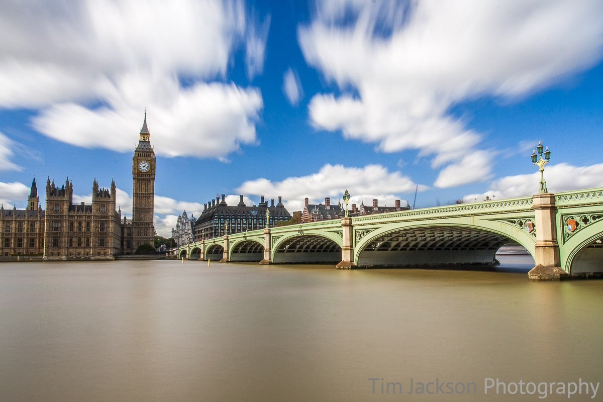 A view of Westminster Bridge leading towards Big Ben and Westminster in London.