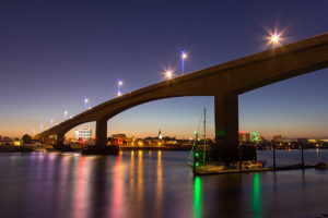 U is for Urban - A night time view of Southampton and the Itchen Bridge.