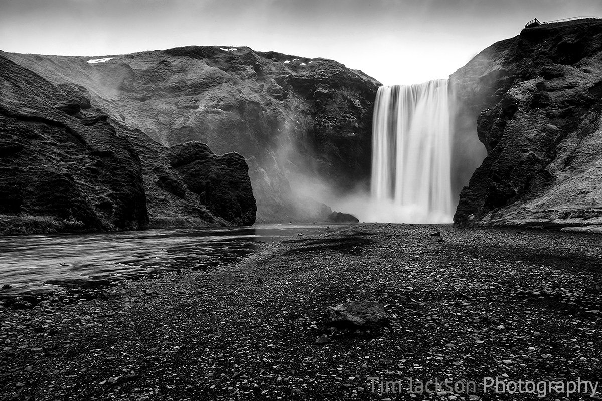 Iceland Trip Skogafoss Black and White Photograph by Tim Jackson
