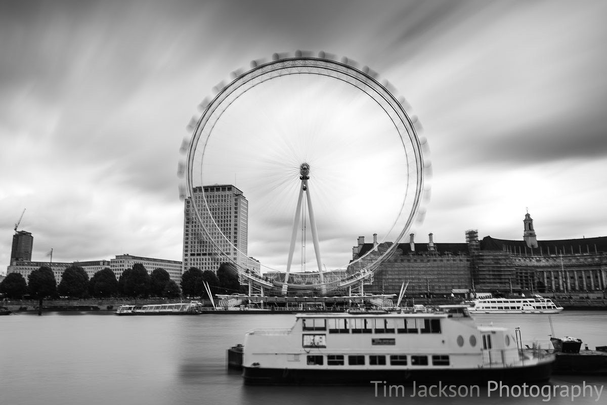 London Eye Black and White Photograph by Tim Jackson
