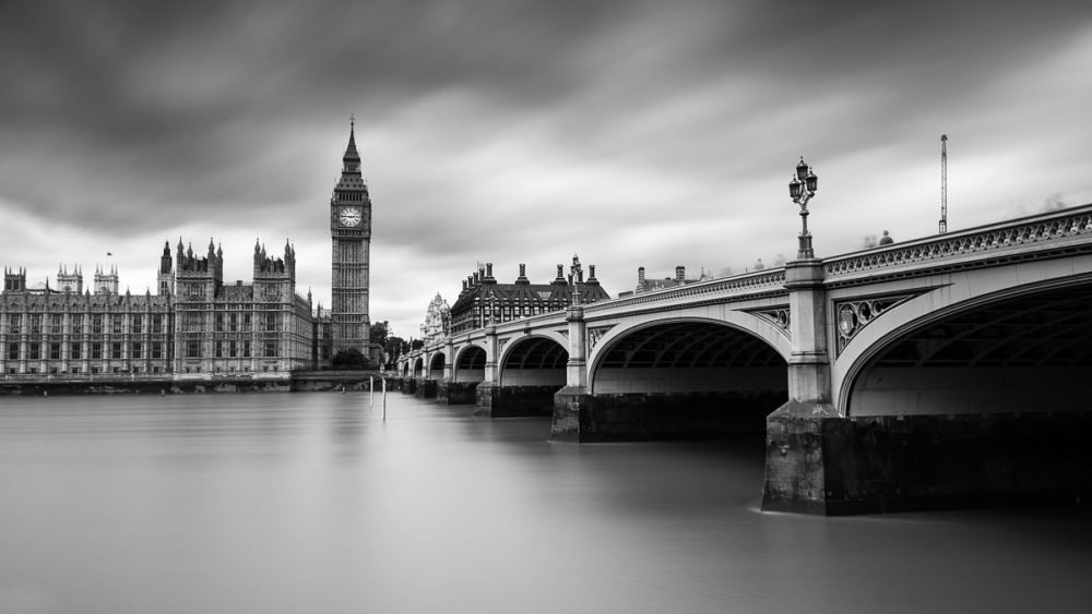 Rainy Day Photography in London Westminster Bridge Black and White Photograph by Tim Jackson