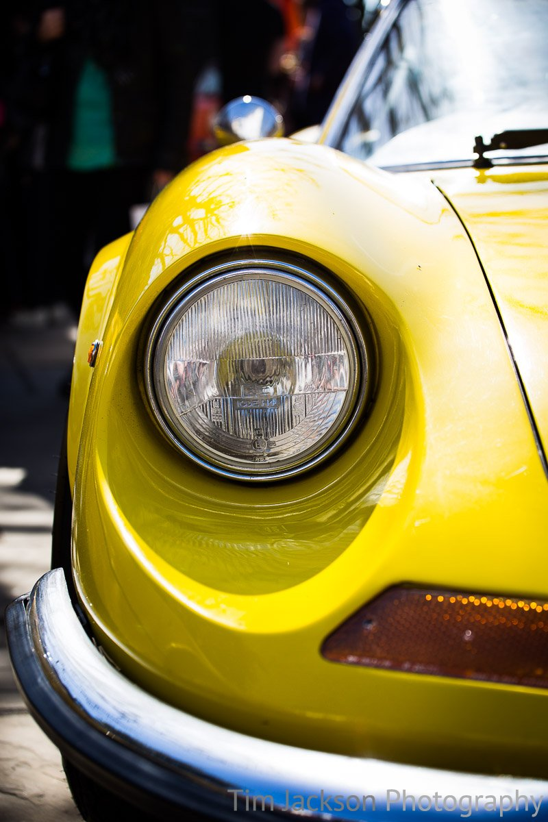 Horsham Piazza Italia 2016 Yellow Ferrari Headlight Photograph by Tim Jackson