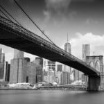Brooklyn Bridge from Day to Dusk Brooklyn Bridge Black and White Photograph by Tim Jackson
