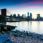 Brooklyn Bridge from Day to Dusk Brooklyn Bridge Pebble Beach Dusk Photograph by Tim Jackson