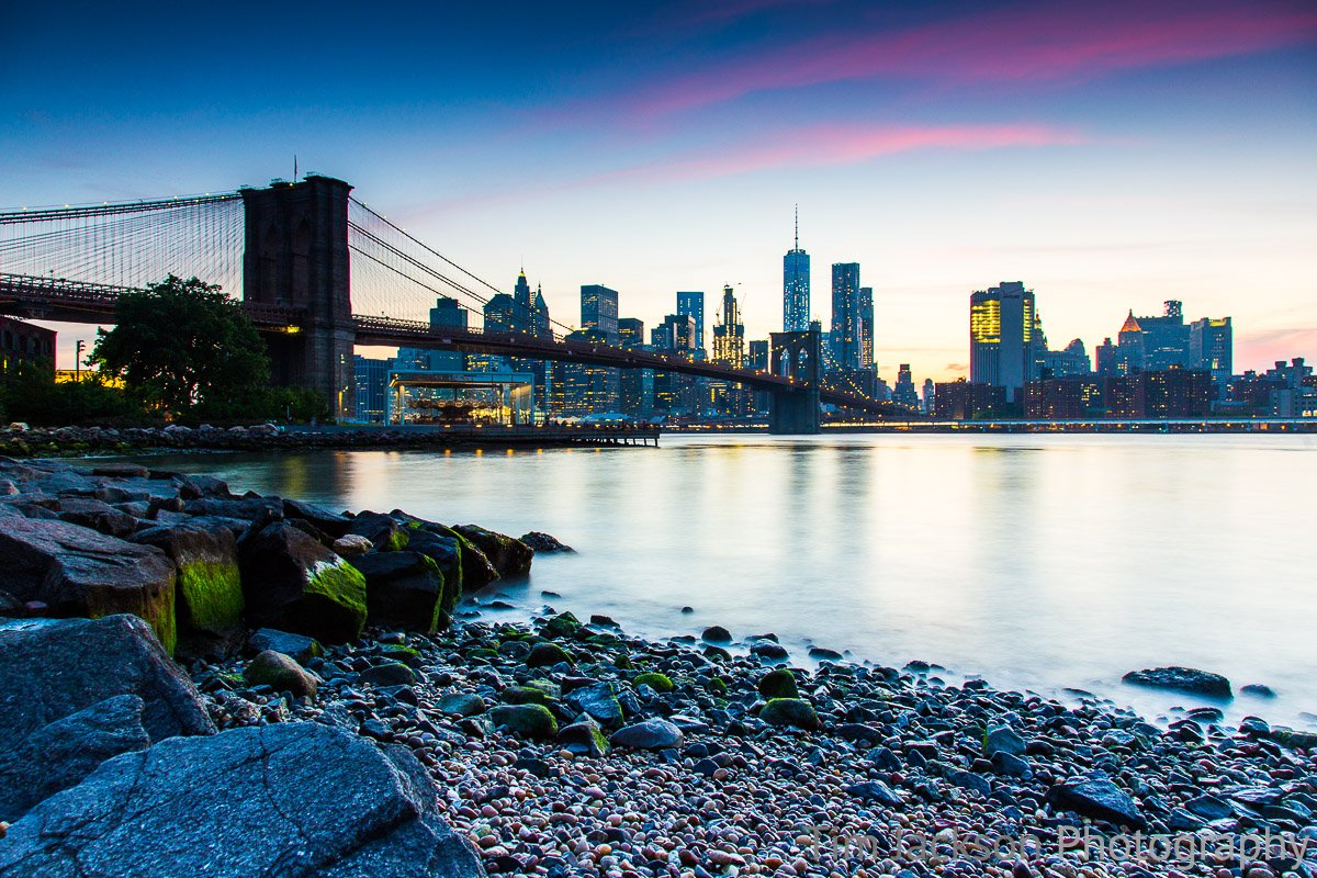 Brooklyn Bridge Pebble Beach Dusk Photograph by Tim Jackson