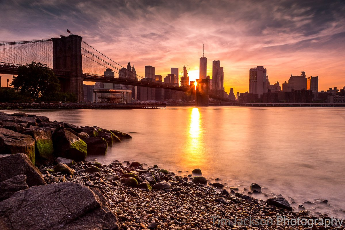 Brooklyn Bridge Sunset Photograph by Tim Jackson