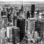 Manhattan from up high. Chrysler Building Black and White Photograph by Tim Jackson
