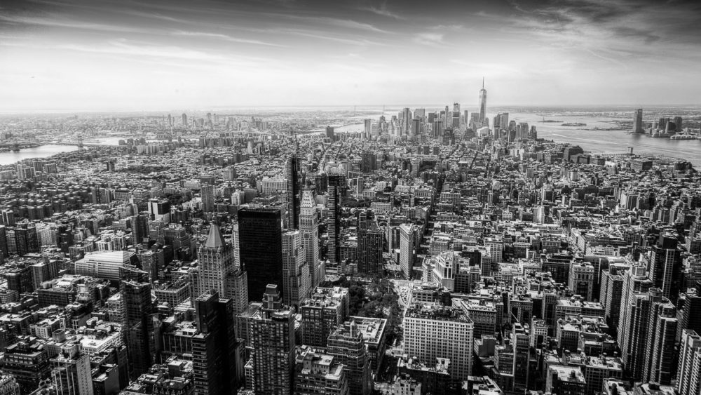 Manhattan from up high. Lower Manhattan Black and White Photograph by Tim Jackson