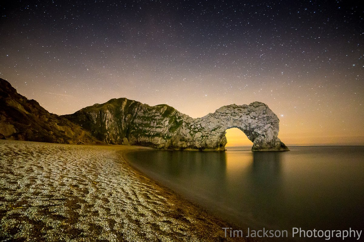 Night photography at Durdle Door Light Painting Durdle Door Photograph by Tim Jackson