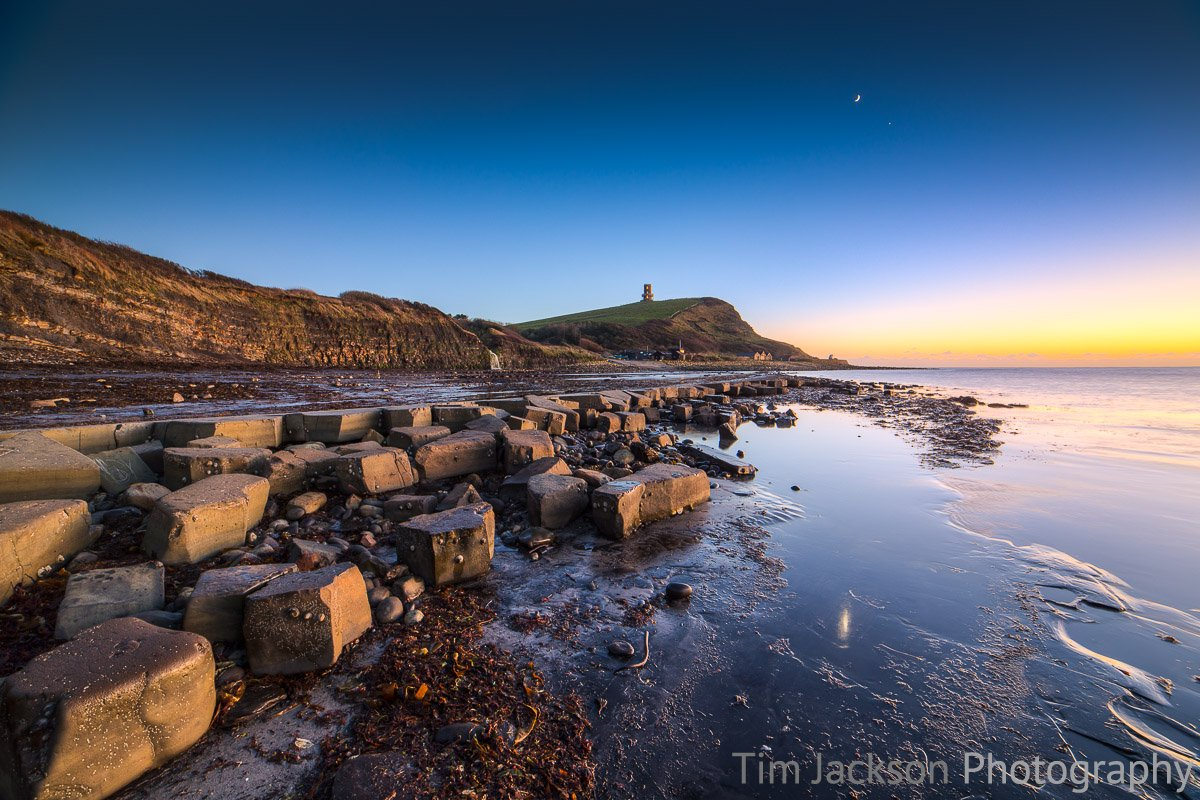 Moon and Venus Kimmeridge Bay
