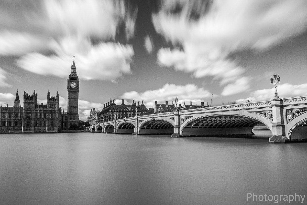 Westminster Bridge Daytime Black and White Photograph by Tim Jackson