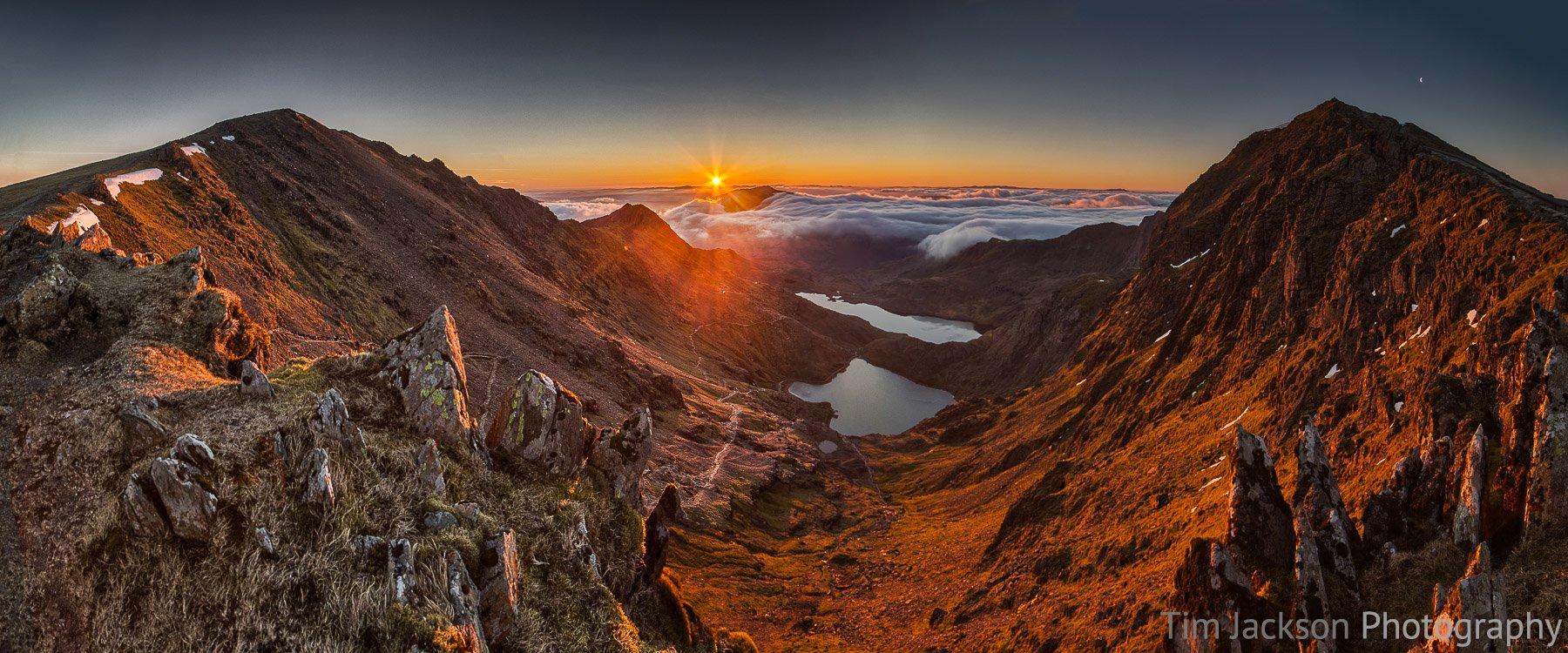 Snowdon Sunrise Panorama Photograph by Tim Jackson
